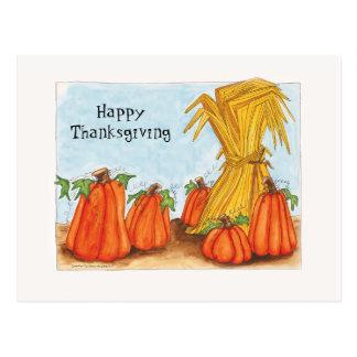 Thanksgiving pumpkins postcard