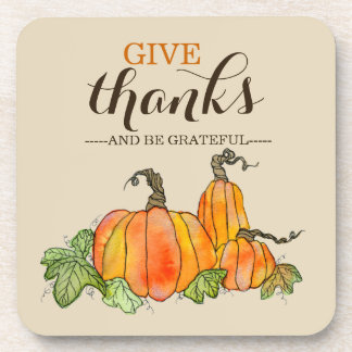 Thanksgiving Pumpkins Watercolor Give Thanks Coaster