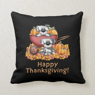 Thanksgiving Puppy Holiday throw pillow