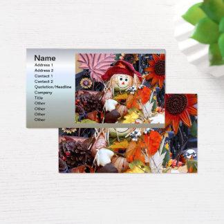 Thanksgiving Rag Doll Amongst Autumn Harvest Scene Business Card
