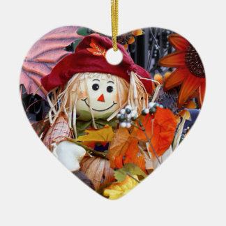 Thanksgiving Rag Doll Amongst Autumn Harvest Scene Ceramic Ornament
