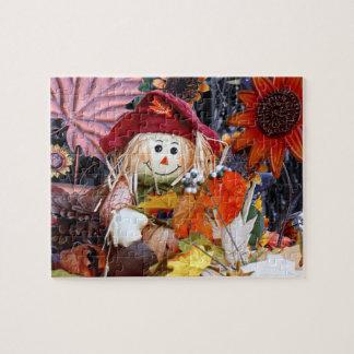 Thanksgiving Rag Doll Amongst Autumn Harvest Scene Jigsaw Puzzle