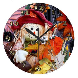 Thanksgiving Rag Doll Amongst Autumn Harvest Scene Large Clock