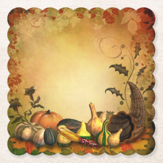 Thanksgiving Scalloped Square Paper Coaster