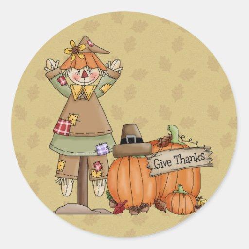 Thanksgiving Scarecrow, Pumpkins Round Sticker