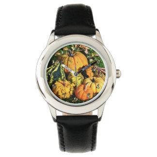 Thanksgiving Scene with Pumpkins-Corn-Gourds Watch