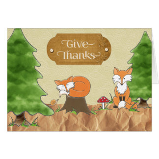 Thanksgiving Scrapbook-look Woods with Foxes Card