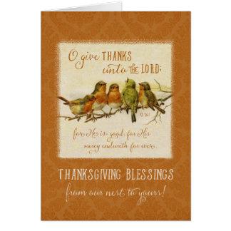 Thanksgiving Scripture Vintage Birds Greeting Card