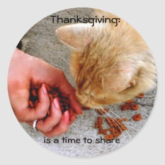 Thanksgiving Sharing with Animals Classic Round Sticker