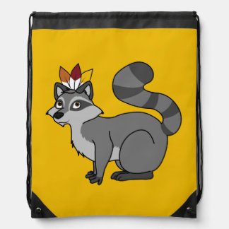 Thanksgiving Silver Raccoon with Indian Headdress Cinch Bag