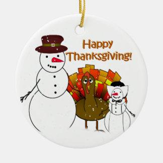 Thanksgiving Snowmen Ceramic Ornament