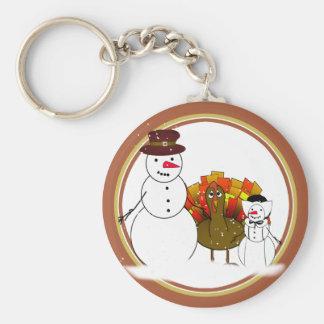 Thanksgiving Snowmen Keychain