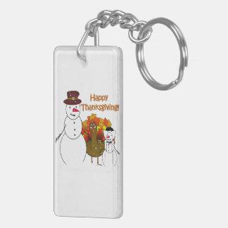 Thanksgiving Snowmen Double-Sided Rectangular Acrylic Keychain