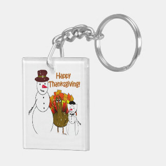 Thanksgiving Snowmen Double-Sided Square Acrylic Keychain