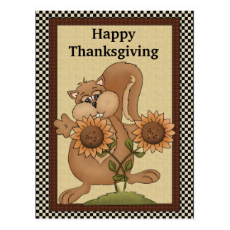 Thanksgiving Squirrel Postcard