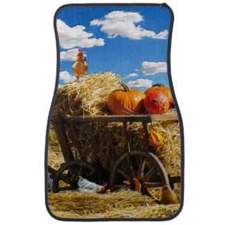 Thanksgiving Straw Wagon in the Field Car Mat