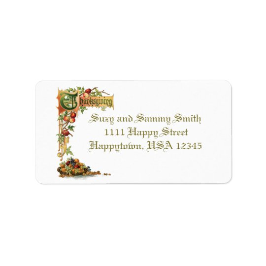 Thanksgiving Text and Harvest Fruit Label