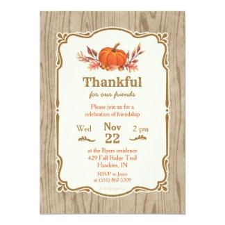 Thanksgiving Thankful Fall Pumpkin Invitation