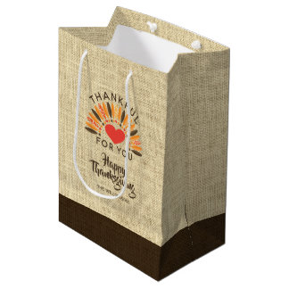 Thanksgiving THANKFUL FOR YOU Two-Tone Burlap Medium Gift Bag