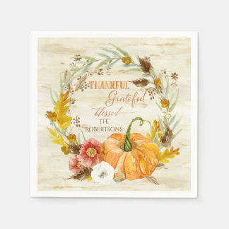 Thanksgiving Thankful Grateful Blessed Family Name Disposable Napkins