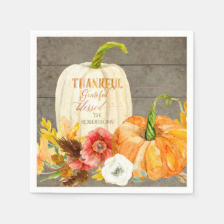 Thanksgiving Thankful Grateful Blessed Family Name Paper Napkins