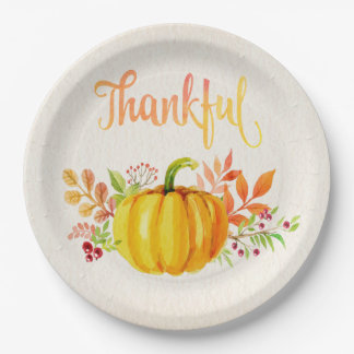 "Thanksgiving ""Thankful"" Watercolors Both Sizes Paper Plate"
