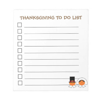 """""""Thanksgiving To Do List"""" Notepad"""