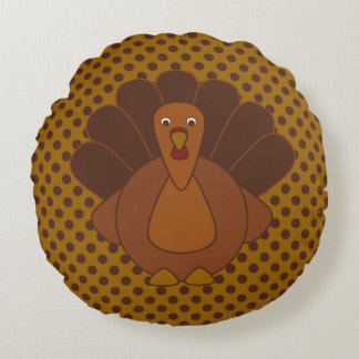Thanksgiving Tom Turkey Polka Dot Round Pillow