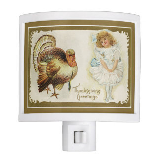 Thanksgiving Turkey and Little Girl Night Light