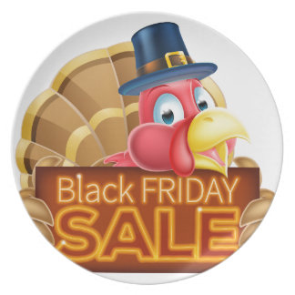 Thanksgiving Turkey Black Friday Sale Sign Party Plates