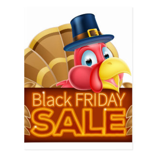 Thanksgiving Turkey Black Friday Sale Sign Postcard