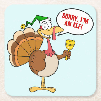 Thanksgiving Turkey Christmas Disguise Cartoon Square Paper Coaster