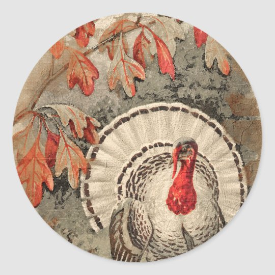 Thanksgiving Turkey Classic Round Sticker