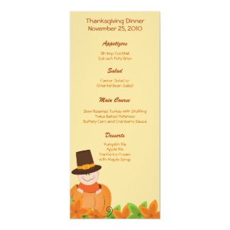 Thanksgiving Turkey Day Customized Menu 4x9.25 Paper Invitation Card