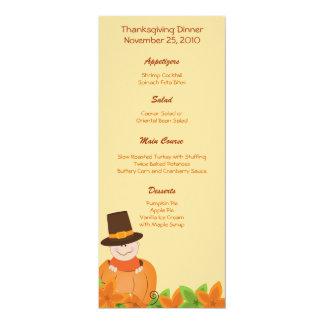 "Thanksgiving Turkey Day Customized Menu 4"" X 9.25"" Invitation Card"