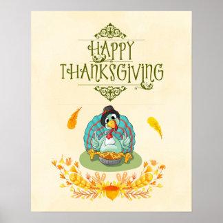 Thanksgiving Turkey Eating Pumpkin Pie Poster