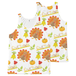 Thanksgiving Turkey Give Thanks All-Over-Print Tank Top
