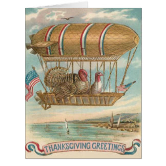 Thanksgiving Turkey Hot Air Balloon US Flag Card