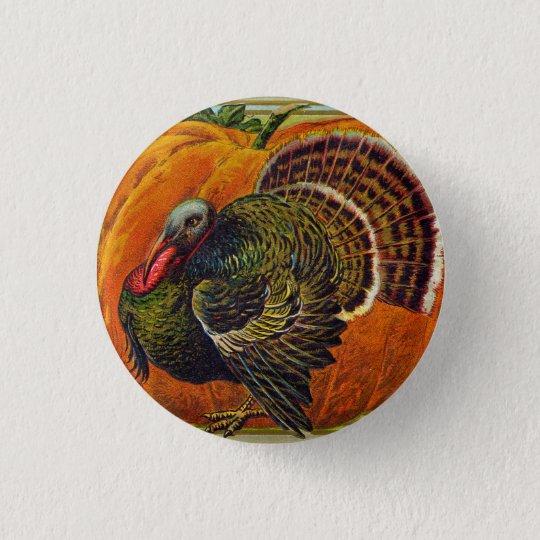 Thanksgiving Turkey in front of a Orange Pumpkin 1 Inch Round Button