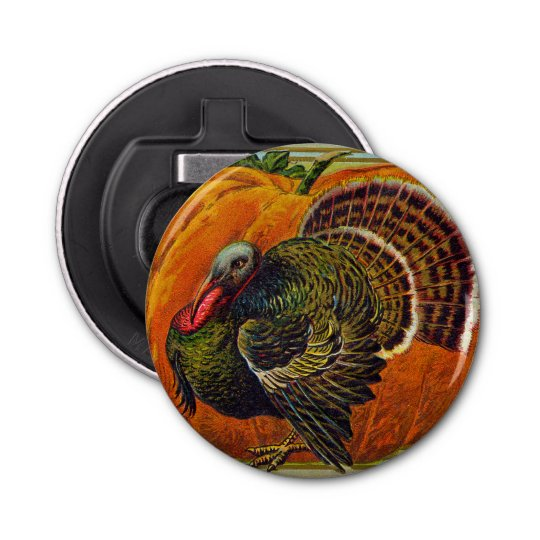 Thanksgiving Turkey in front of a Orange Pumpkin Bottle Opener