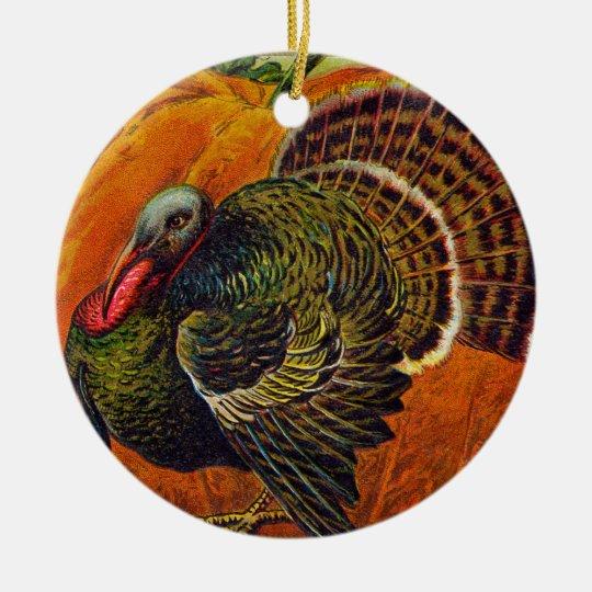 Thanksgiving Turkey in front of a Orange Pumpkin Ceramic Ornament