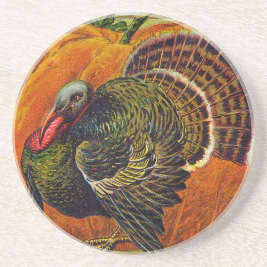 Thanksgiving Turkey in front of a Orange Pumpkin Coaster