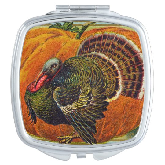 Thanksgiving Turkey in front of a Orange Pumpkin Compact Mirrors