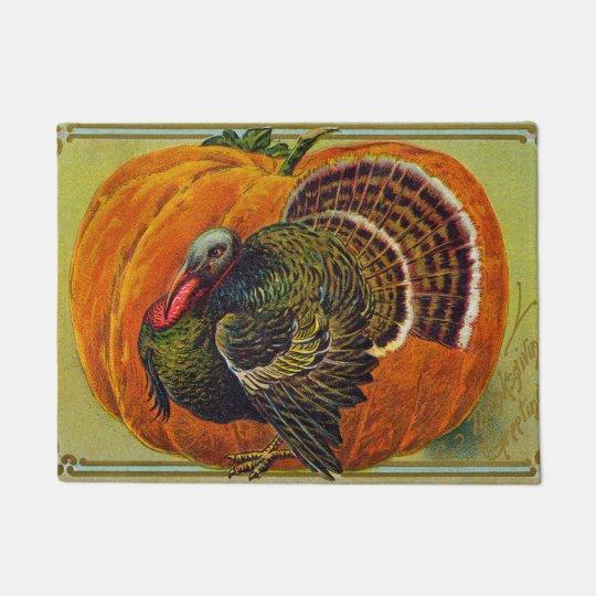 Thanksgiving Turkey in front of a Orange Pumpkin Doormat