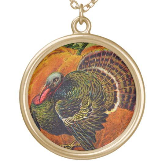 Thanksgiving Turkey in front of a Orange Pumpkin Gold Plated Necklace