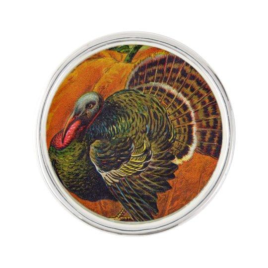 Thanksgiving Turkey in front of a Orange Pumpkin Lapel Pin