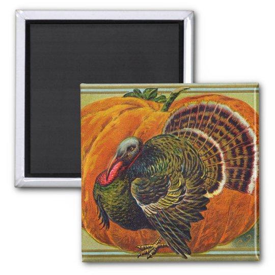 Thanksgiving Turkey in front of a Orange Pumpkin Magnet
