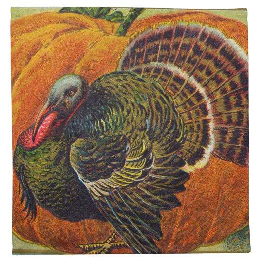 Thanksgiving Turkey in front of a Orange Pumpkin Napkin