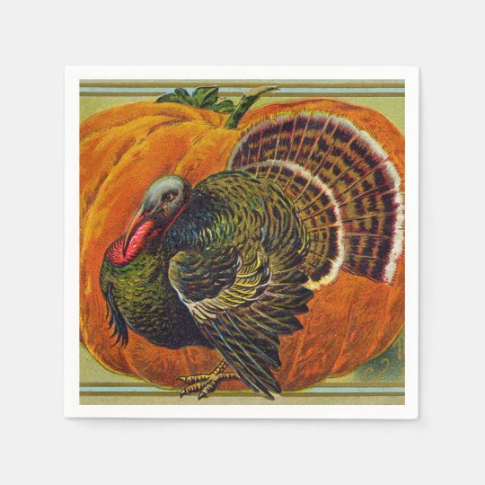 Thanksgiving Turkey in front of a Orange Pumpkin Paper Napkins