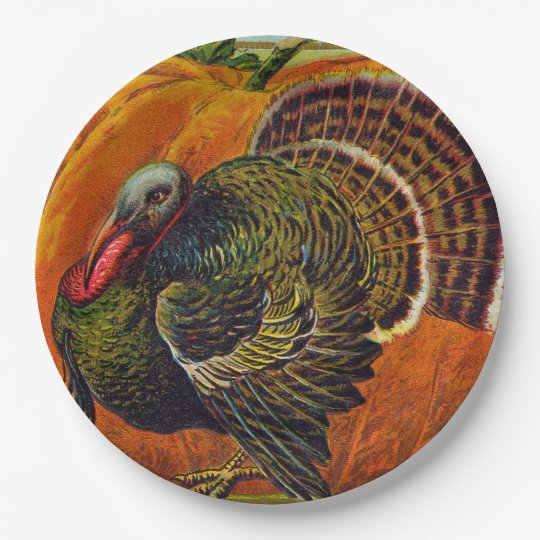 Thanksgiving Turkey in front of a Orange Pumpkin Paper Plate